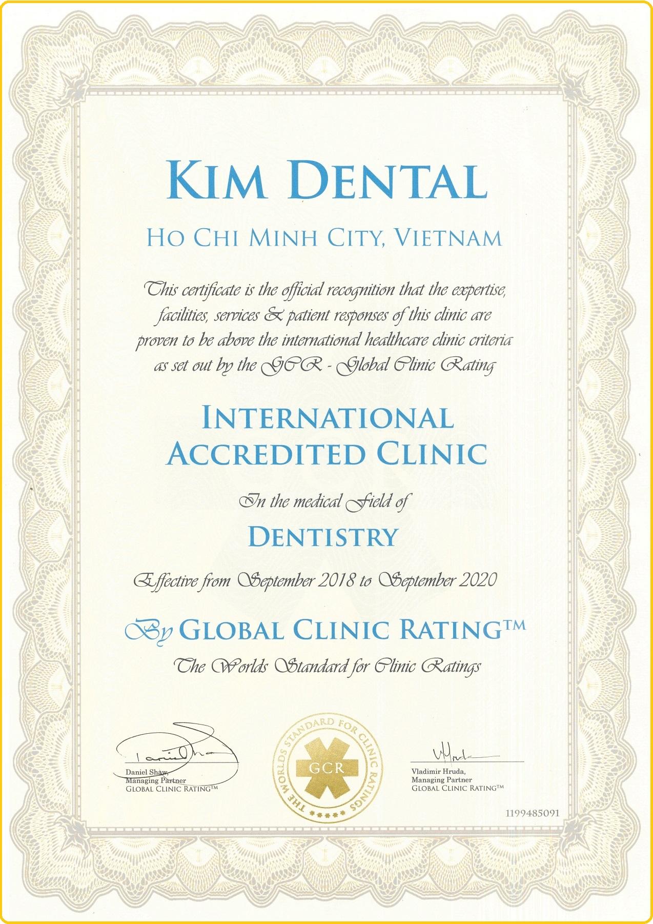 nha khoa Kim đạt chứng nhận nha khoa quốc tế