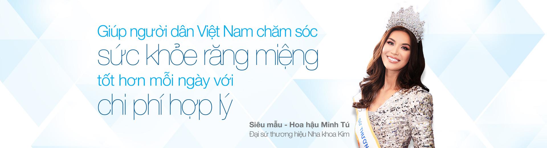 Siêu mẫu - hoa hậu Minh Tú Đại sứ thương hiệu Nha Khoa Kim