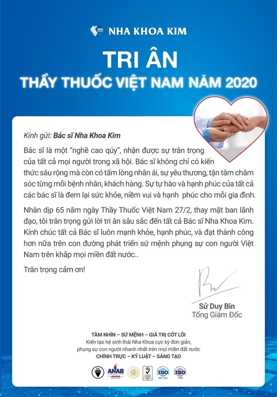 nha khoa Kim chúc mừng ngày thầy thuốc Việt Nam